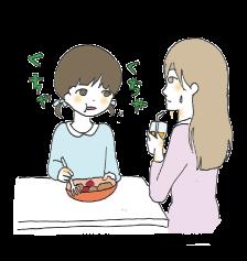 食事の際に音を立てて食べるようになる